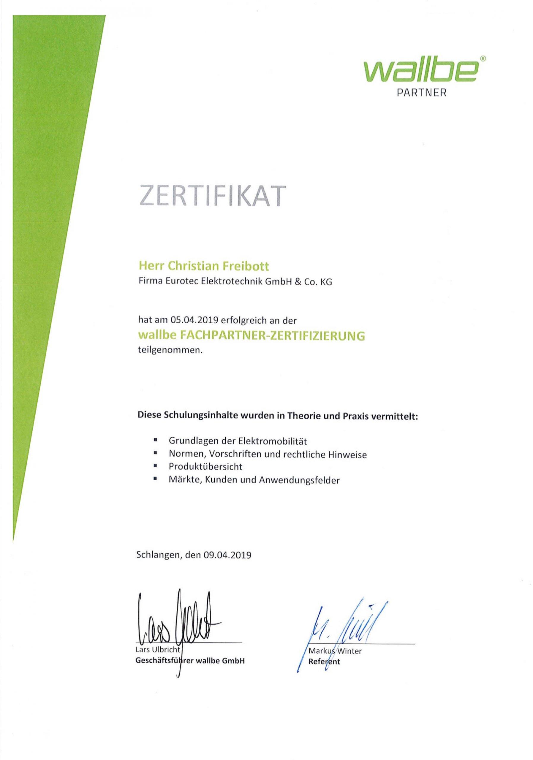 walbe Partner - Zertifikat